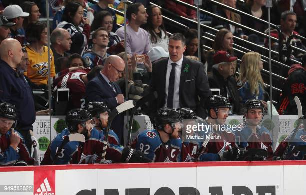 Jared Bednar head coach of the Colorado Avalanche directs his team against the Nashville Predators in Game Four of the Western Conference First Round...