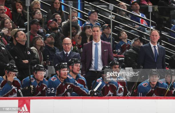 Jared Bednar head coach of the Colorado Avalanche looks on against the Carolina Hurricanes at Pepsi Center on December 19, 2019 in Denver, Colorado.
