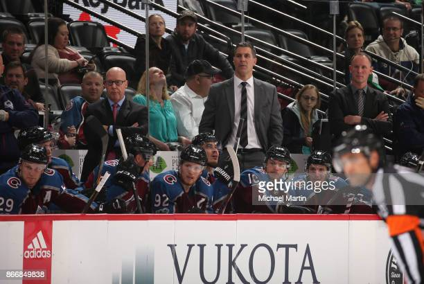 Jared Bednar head coach of the Colorado Avalanche looks on against the Dallas Stars at the Pepsi Center on October 24 2017 in Denver Colorado