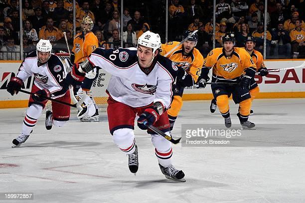 Jared Boll of the Columbus Blue Jackets plays against the Nashville Predators at Bridgestone Arena on January 19 2013 in Nashville Tennessee