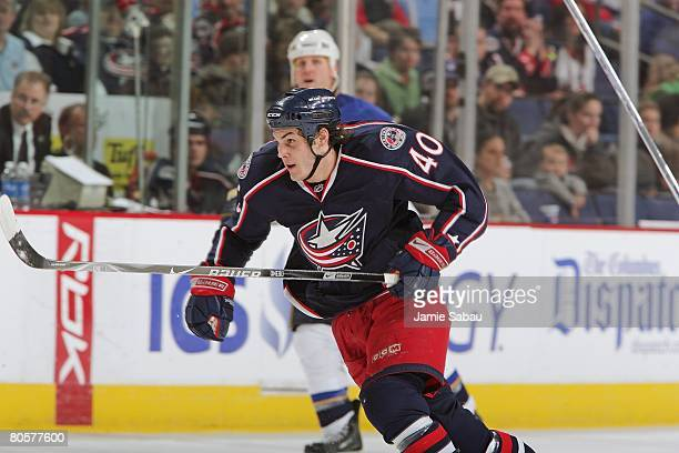Jared Boll of the Columbus Blue Jackets skates up ice against the St Louis Blues on April 6 2008 at Nationwide Arena in Columbus Ohio