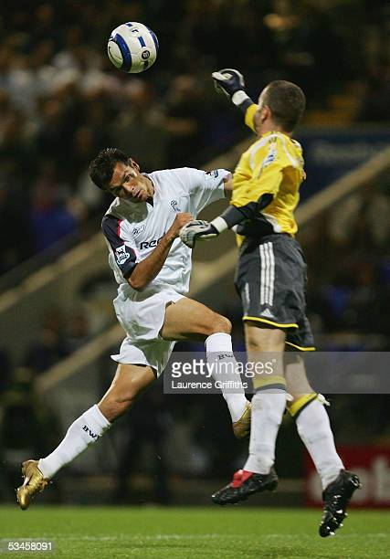 Jared Borgetti of Bolton battles with Shay Given of Newcastle United during the Barclays Premiership match between Bolton Wanderers and Newcastle...
