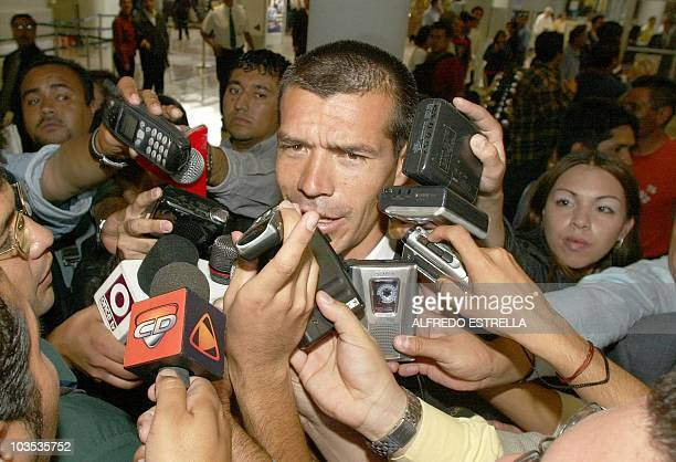 Jared Borgetti soccer player and member of the Mexican soccer selection committee answers questions from reporters at the aeropuerto Internacional de...