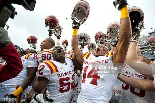 Jared Brackens of the Iowa State Cyclones celebrates with teammates after defeating the TCU Horned Frogs during the Big 12 Conference game on October...