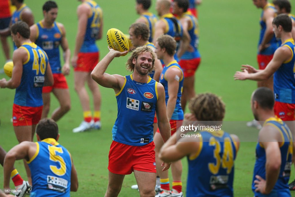 Jared Brennan throws the ball during a Gold Coast Suns AFL training session at Metricon Stadium on February 20, 2013 in Gold Coast, Australia.