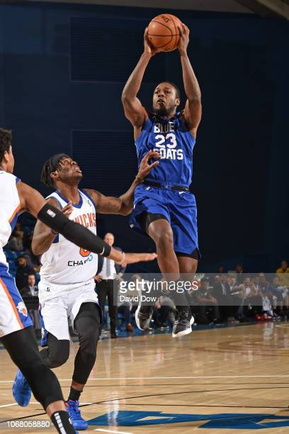 Jared Brownridge of the Delaware Blue Coats drives to the basket against the Westchester Knicks during an NBA GLeague game at the Bob Carpenter...