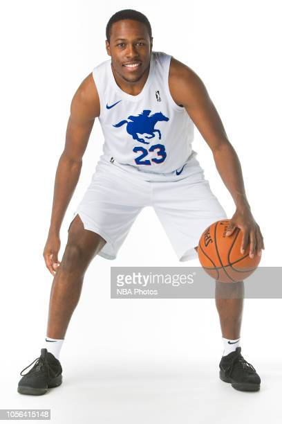 Jared Brownridge of the Delaware Blue Coats poses for a portrait during NBA GLeague media day on October 31 2018 at the Delaware Tech Collage in...