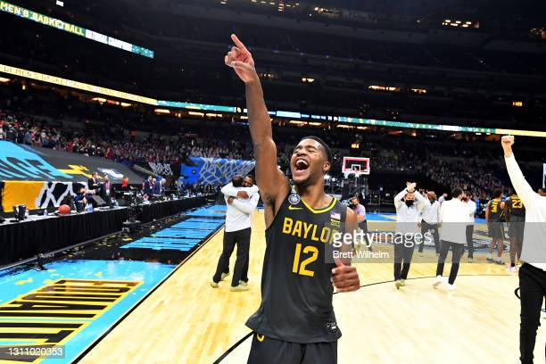 Jared Butler of the Baylor Bears celebrates after defeating the Gonzaga Bulldogs in the National Championship game of the 2021 NCAA Men's Basketball...