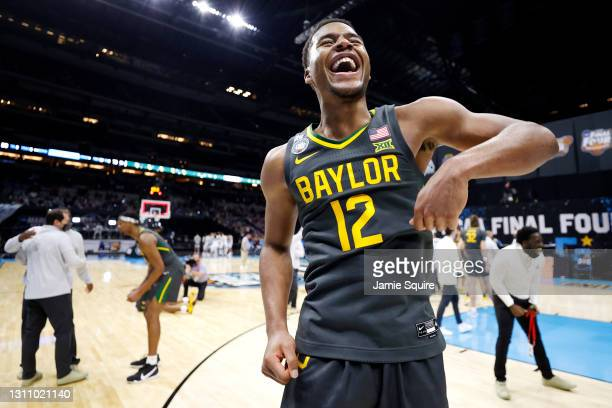Jared Butler of the Baylor Bears celebrates after winning the National Championship game of the 2021 NCAA Men's Basketball Tournament against the...