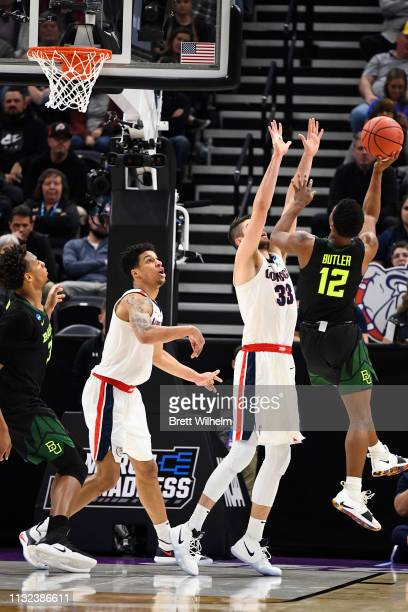 Jared Butler of the Baylor Bears takes a shot against Killian Tillie of the Gonzaga Bulldogs in the second round of the 2019 NCAA Photos via Getty...