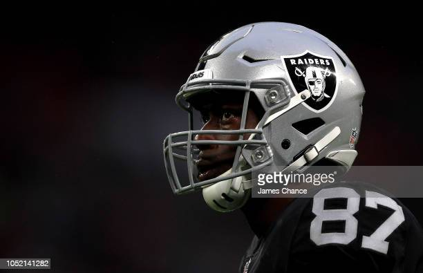 Jared Cook of Oakland Raiders looks on during the NFL International series match between Seattle Seahawks and Oakland Raiders at Wembley Stadium on...