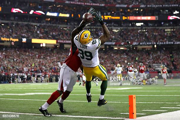 Jared Cook of the Green Bay Packers fails to make a catch in the endzone in the first quarter against the Atlanta Falcons in the NFC Championship...