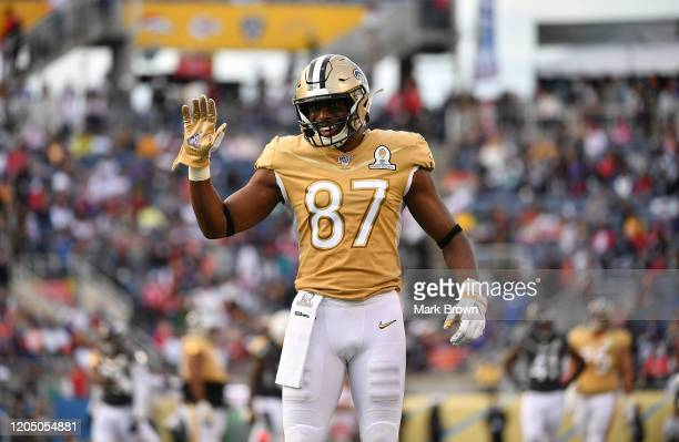 Jared Cook of the New Orleans Saints gestures towards the fans during the 2020 NFL Pro Bowl at Camping World Stadium on January 26 2020 in Orlando...