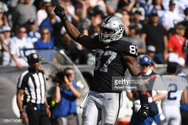Jared Cook of the Oakland Raiders celebrates a first down against the Indianapolis Colts during their NFL game at OaklandAlameda County Coliseum on...
