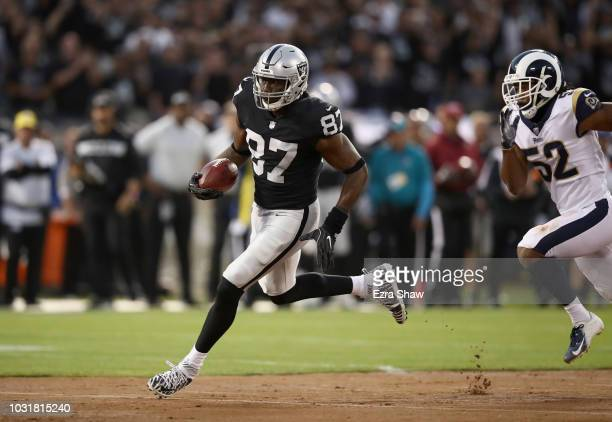 Jared Cook of the Oakland Raiders in action against the Los Angeles Rams at OaklandAlameda County Coliseum on September 10 2018 in Oakland California