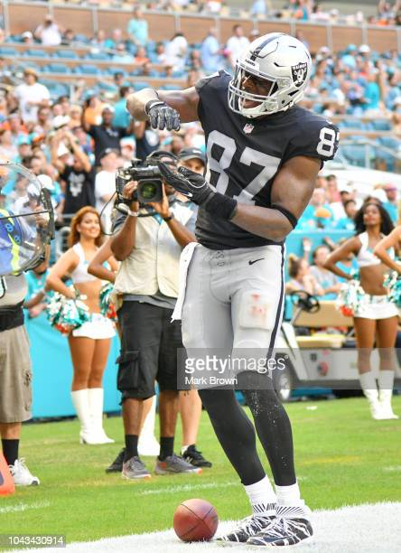 Jared Cook of the Oakland Raiders in action against the Miami Dolphins at Hard Rock Stadium on September 23 2018 in Miami Florida