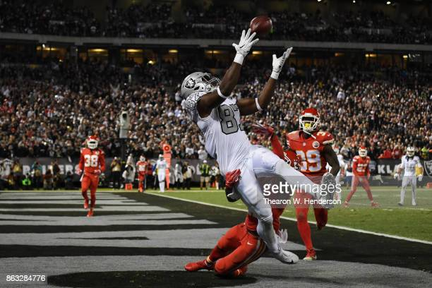 Jared Cook of the Oakland Raiders is unable to make a catch against the Kansas City Chiefs during their NFL game at OaklandAlameda County Coliseum on...