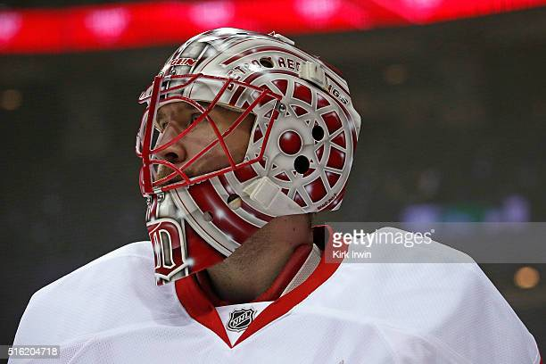 Jared Coreau of the Detroit Red Wings warms up prior to the start of the game against the Columbus Blue Jackets on March 17 2016 at Nationwide Arena...
