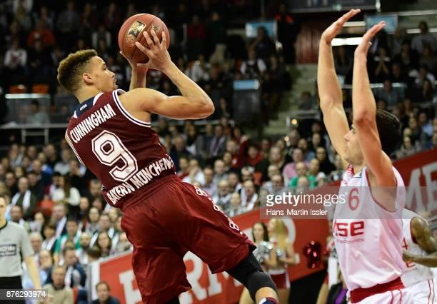 Jared Cunningham of FC Bayern Muenchen shoots againsti Nikolaos Zisis of Brose Bamberg during the BBL Basketball Bundesliga match between FC Bayern...