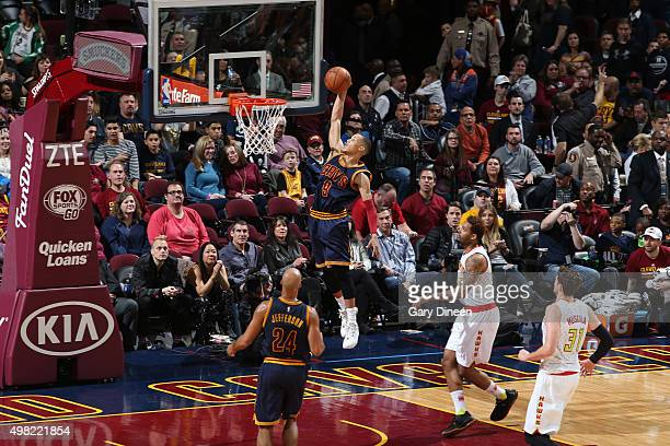 Jared Cunningham of the Cleveland Cavaliers goes to the basket against the Atlanta Hawks on November 21 2015 at Quicken Loans Arena in Cleveland Ohio...