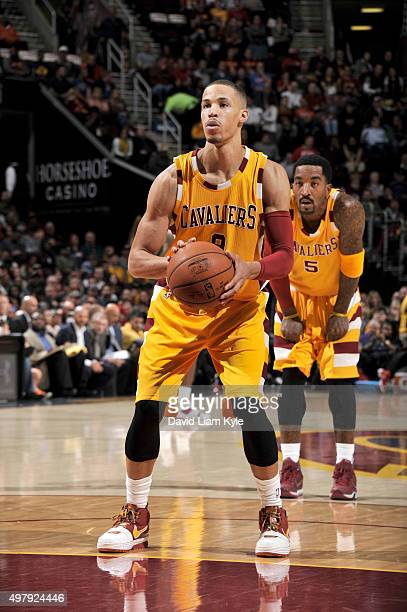 Jared Cunningham of the Cleveland Cavaliers shoots a free throw during the game against the Milwaukee Bucks on November 19 2015 at Quicken Loans...