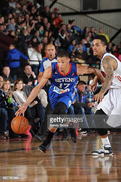 Jared Cunningham of the Delaware 87ers drives past Brandon Fields of the Grand Rapids Drive during the NBA D-League game on January 31, 2015 at the...