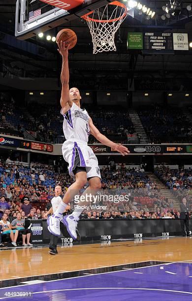 Jared Cunningham of the Sacramento Kings shoots a layup against the Oklahoma City Thunder on April 8 2014 at Sleep Train Arena in Sacramento...