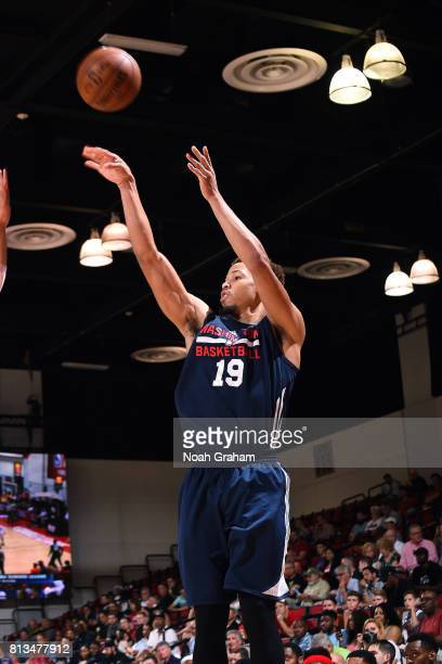 Jared Cunningham of the Washington Wizards shoots the ball during the game against the Miami Heat during the 2017 Las Vegas Summer League on July 12...