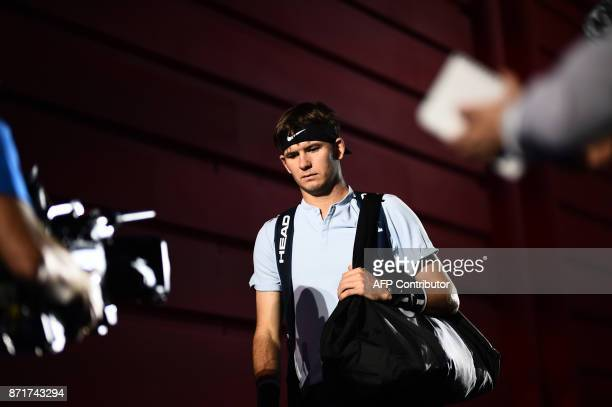 US' Jared Donaldson arrives for a men's singles tennis match during the first edition of the Next Generation ATP Finals in Milan on November 8 an...