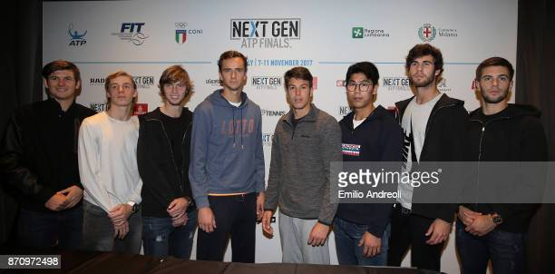 Jared Donaldson Denis Shapovalov Andrey Rublev Daniil Medvedev Gianluigi Quinzi Hyeon Chung Karen Khachanov and Borna Coric pose during the Next Gen...