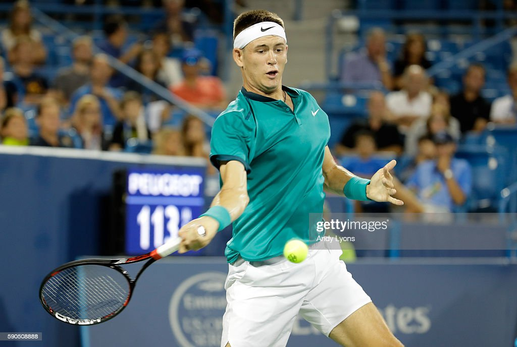 Jared Donaldson hits a return in his second round match against Stan Wawrinka of Switzerland on day 4 of the Western & Southern Open at the Lindner Family Tennis Center on August 16, 2016 in Mason, Ohio.