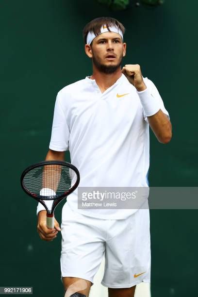 Jared Donaldson of the United States celebrates a point against Stefanos Tsitsipas of Greece during their Men's Doubles first round match on day four...