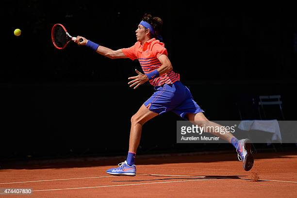 Jared Donaldson of the United States in action during the men's singles third round qualifying match against Nikoloz Basilashvili of Georgia at...