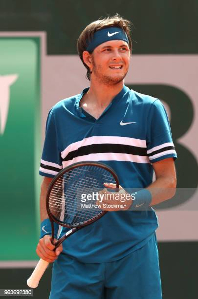 Jared Donaldson of The United States looks on during the mens singles second round match against Grigor Dimitrov of Bulgaria during day four of the...