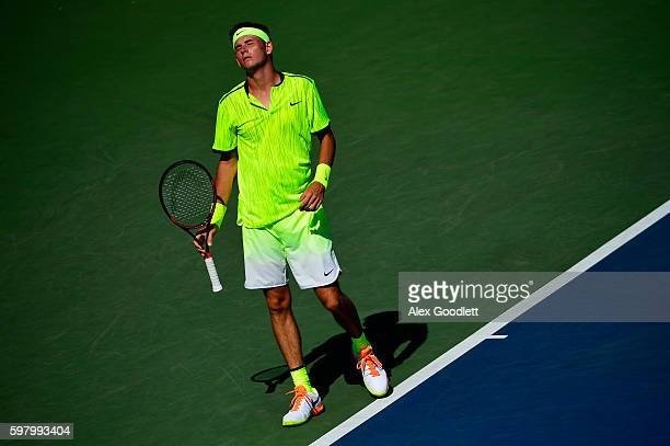 Jared Donaldson of the United States reacts against David Goffin of Belgium during his first round Men's Singles match on Day Two of the 2016 US Open...