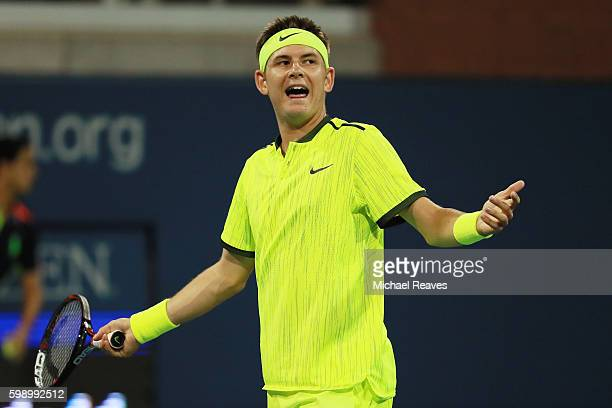 Jared Donaldson of the United States reacts during his third round Men's Singles match against Ivo Karlovic of Croatia on Day Six of the 2016 US Open...