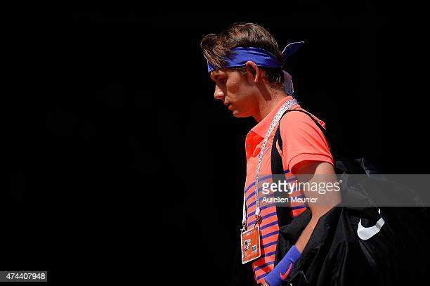Jared Donaldson of the United States reacts during the men's singles third round qualifying match against Nikoloz Basilashvili of Georgia at Roland...