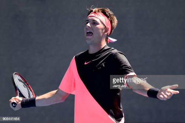 Jared Donaldson of the United States reacts in his first round match against Albert RamosVinolas of Spain on day two of the 2018 Australian Open at...