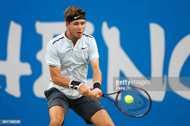 Jared Donaldson of the United States returns a shot during the match against Kyle Edmund of Great Britain during Day 3 of 2017 ATP Chengdu Open at...