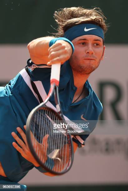 Jared Donaldson of The United States serves during the mens singles second round match against Grigor Dimitrov of Bulgaria during day four of the...