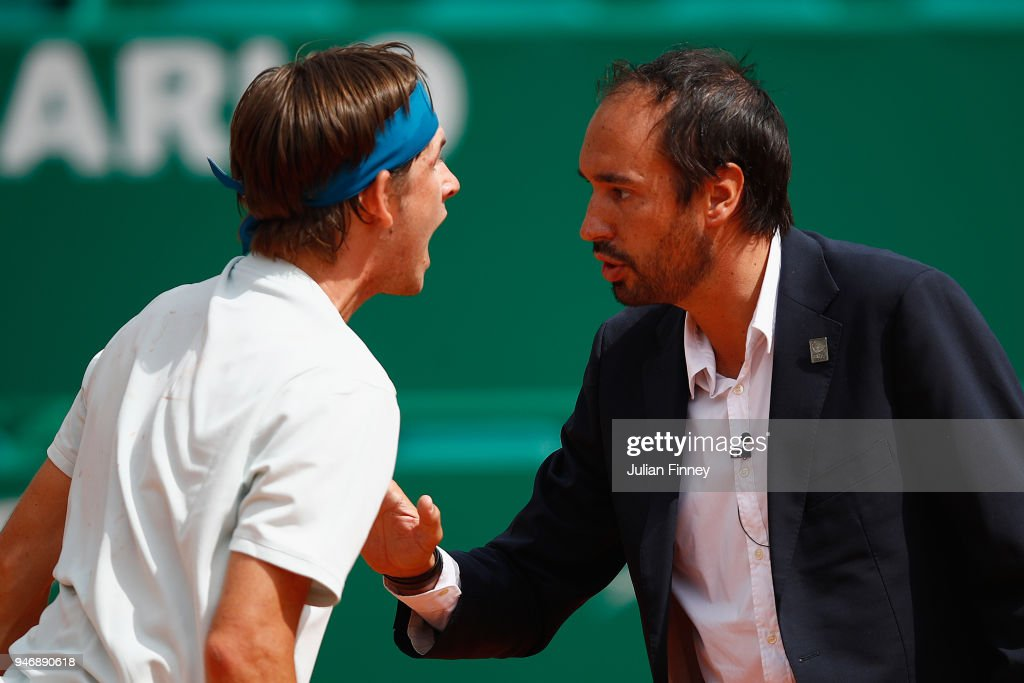 Jared Donaldson of the USA argues with umpire Arnaud Gabas of France in his match against Albert Ramos-Vinolas of Spain during day two of ATP Masters Series: Monte Carlo Rolex Masterat Monte-Carlo Sporting Club on April 16, 2018 in Monte-Carlo, Monaco.