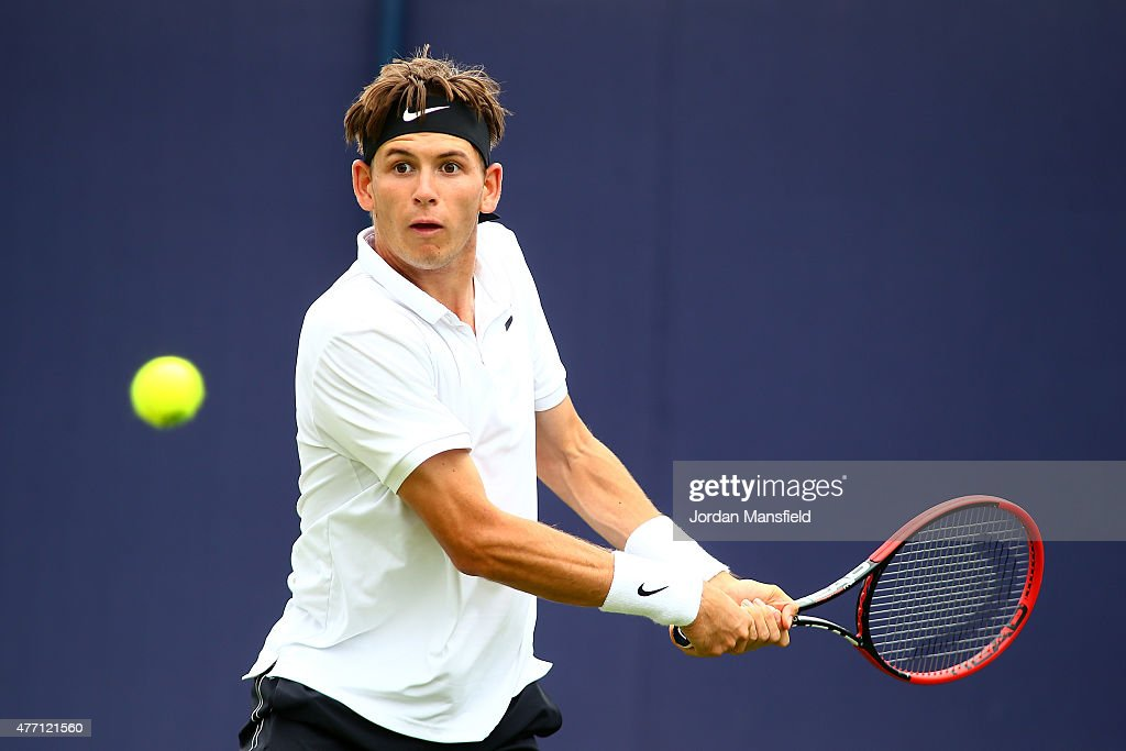 Jared Donaldson of the USA plays a backhand during his Qualification match of the Aegon Championships against Tobias Kamke of Germany at Queens Club on June 14, 2015 in London, England.