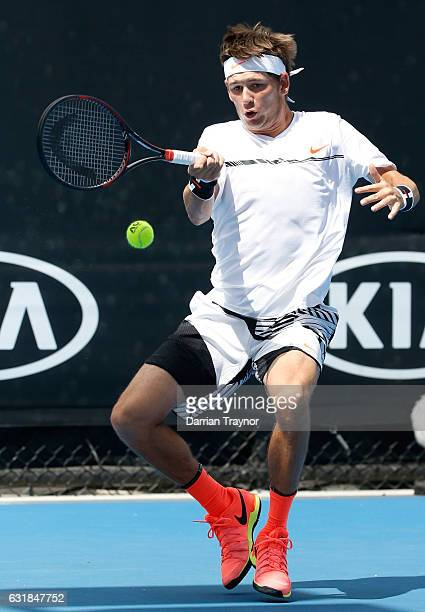 Jared Donaldson of the USA plays a forehand during his first round match against Rogerio DUtra Silva of Brazil on day two of the 2017 Australian Open...