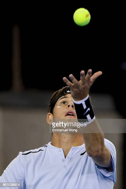 Jared Donaldson of the USA serves against Tomas Berdych of the Czech Republic on day four of the 2017 China Open at the China National Tennis Centre...
