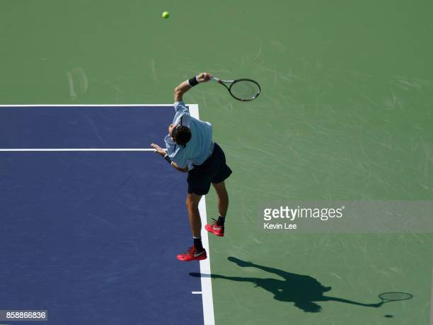 Jared Donaldson of United States serves to Pablo Cuevas of Uruguay during Men's first round match on Day 1 of 2017 ATP 1000 Shanghai Rolex Masters on...