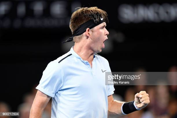 Jared Donaldson of USA celebrates victory after his match against Jordan Thompson of Australia during day two of the 2018 Brisbane International at...