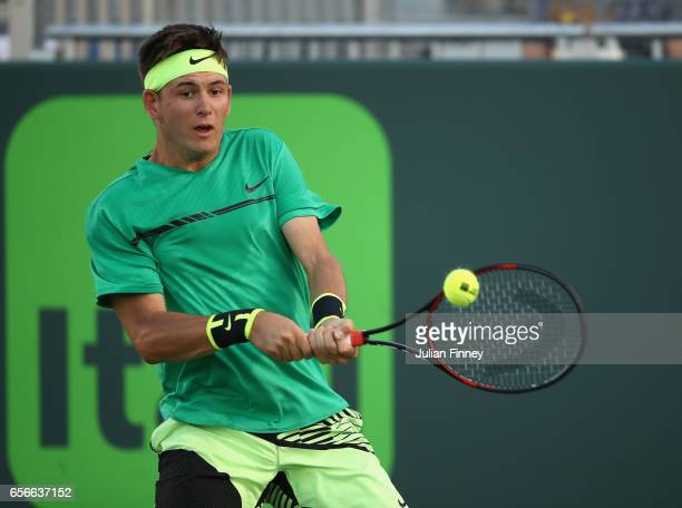 Jared Donaldson of USA in action in his match against Kyle Edmund of Great Britain at Crandon Park Tennis Center on March 22 2017 in Key Biscayne...
