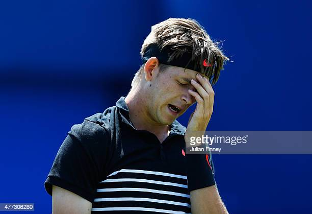 Jared Donaldson of USA reacts in his men's singles first round match against John Isner of USA during day two of the Aegon Championships at Queen's...