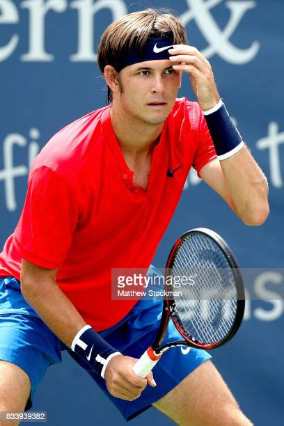 Jared Donaldson plays Nikoloz Basilashvili of Georgia during day 6 of the Western Southern Open at the Lindner Family Tennis Center on August 17 2017...