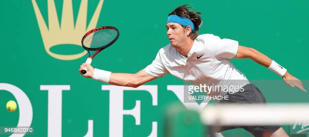 Jared Donaldson reaches out to the ball during his round of 64 tennis match against Spain's Albert Ramos-Vinolas at the Monte-Carlo ATP Masters...